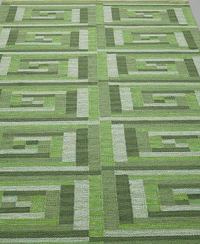 "Barbro nilsson, a carpet, ""ostia grön"", flat weave, ca 234,5 x 141,5 cm, signed ab mmf bn."