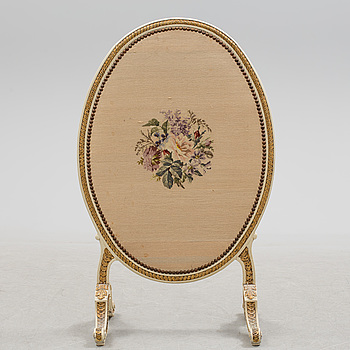 An embroidered Swedish Gustavian style fire-guard, early 20th century.