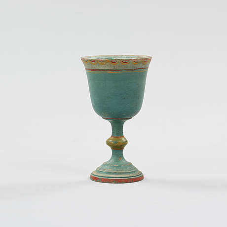 A painted swedish wooden cup from the 19th century.