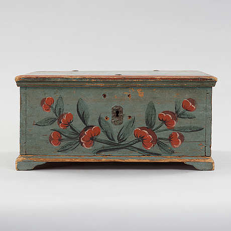 A painted swedish wooden box dated 1812