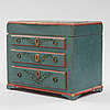 A miniature chest of drawers from the 19th century.