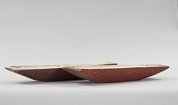 TRÅG, 2 st, allmoge, Hälsingland, 1800-tal.