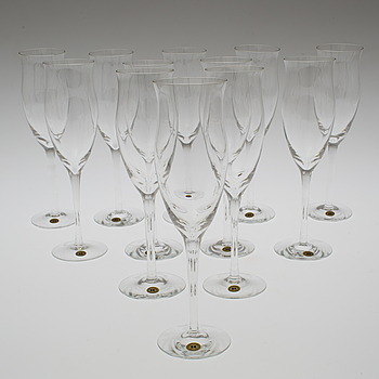 "REIJMYRE GLASBRUK, A set of twelve ""Operakällaren"" champagne glasses by Reijmyre Glasbruk."