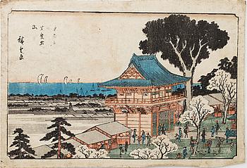 HIROSHIGE ANDO (1797-1858), three colour woodblock prints, Japan.