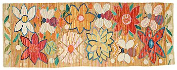"""180. ANN-MARI LINDBOM, GIFT FORSBERG, VÄVNAD, """"Bilöpare"""", gobelängvariant, ca 32 x 87 cm,  signerad AMF."""
