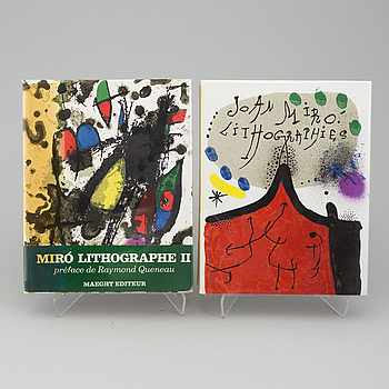 "JOAN MIRÓ, böcker, 2 st, ""Joan Miró Lithographies I & II"", Maeght, Paris, 1972 samt 1975."