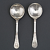 A pair of norwegian silver spoons, unmarked, possibly early 18th century