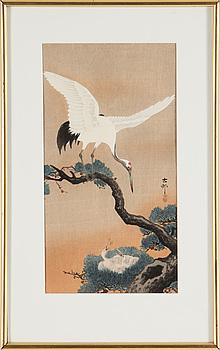 KOSON OHARA (1877-1945), two color woodblock print. Japan, 'Birds'.