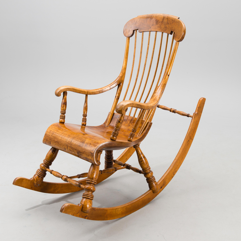 A late 19th century Finnish rockin chair by Jaakko Triipu in