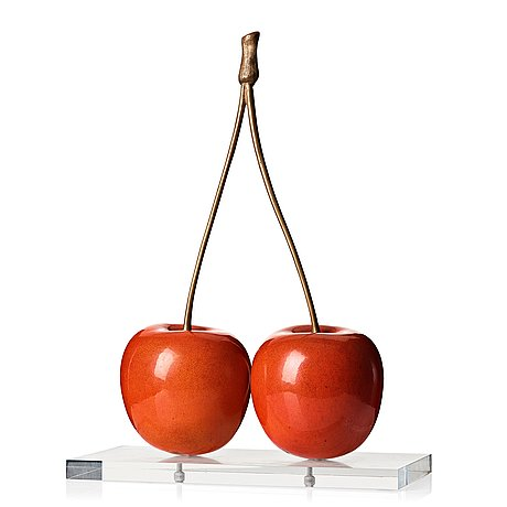 Hans hedberg, a faience and bronze sculpture of cherries, biot, france.