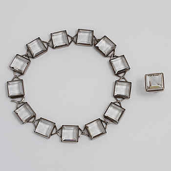 ANDERS HÖGBERG, ANDERS HÖGBERG, Göteborg, 1969, a rockcrystal ring and necklace.