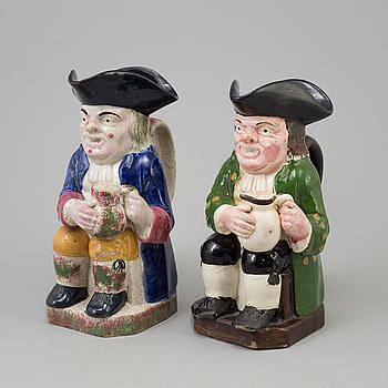 STOP, 2 st, s k Toby Jugs, keramik, England, 1800-tal.