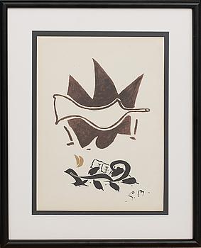 GEORGES BRAQUE, efter, färglitografi, signerad i trycket, ur Derrière le Miroir nr 85-86, 1956.