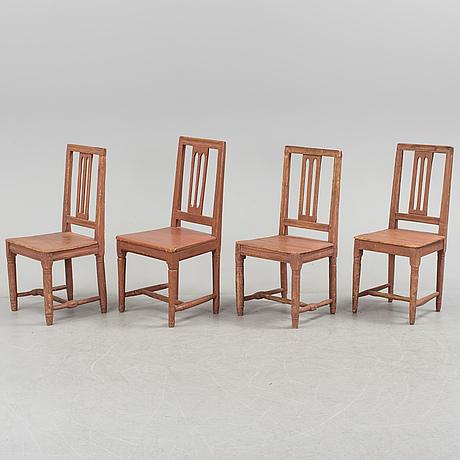 Ten swedish gustavian chairs, early 19th century.