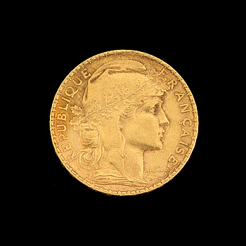 GOLD COIN, 20 fr, France 1909. Weight ca 6,4 g.