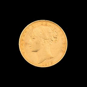 GULDMYNT, sovereign, Queen Victoria, Australien, 1879. Vikt ca 8 gram.