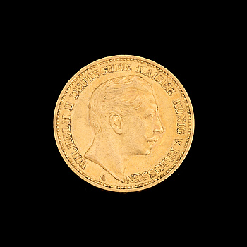 GOLD COIN, 20 mark, Wilhelm II, Germany, 1897. Weight ca 8 g.