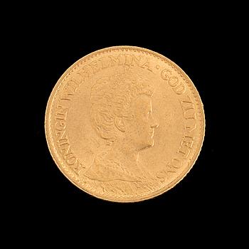 GOLD COIN, 10 gulden, Queen Wilhelmina, Netherlands 1913. Weight ca 6,8 g.