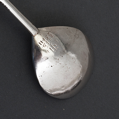 Sked, silver, ostämplad, norge 1600-tal.