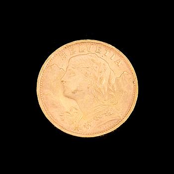 GULDMYNT, 20 fr, Schweiz 1935. Vikt ca 6,5 gram.
