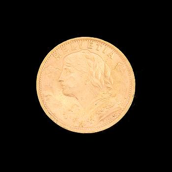 GOLD COIN, 20 fr, Switzerland 1935. Weight ca 6,5 g.