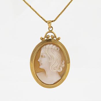 A cameo pendant.