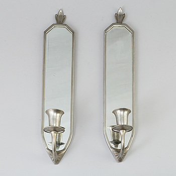 ASTRI EKENGREN, spegellampetter, ett par, tenn, 1920-tal.