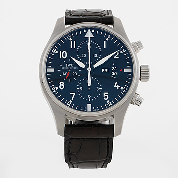 IWC (International Watch Co), Fliegeruhr Chronograph, Schaffhausen, kronograf, armbandsur, 43,5 mm,