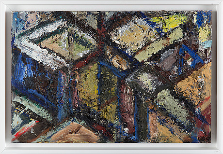 Arvid pettersen, oil on metal, signed arvid pettersen and dated  89 on verso