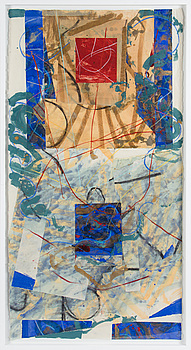 STEVEN SORMAN, mixed media with collage, signed and dated 7.11.1984.