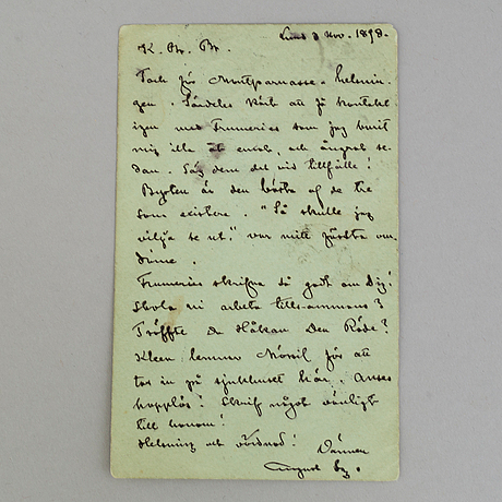 A letter by, august strindberg from 1898.