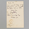 A letter by, august strindberg dated 1899.