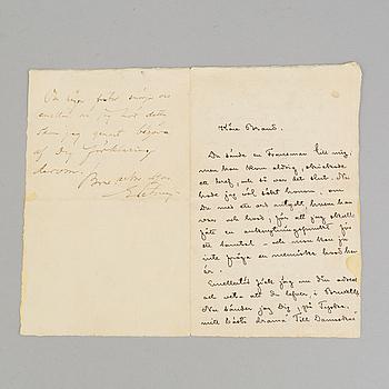 AUGUST STRINDBERG, brev, daterad 1900.
