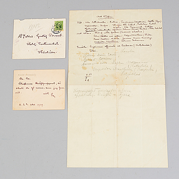 AUGUST STRINDBERG, A letter by, August Strindberg dated 1909.