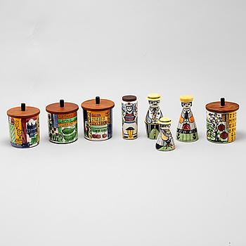 ANITA NYLUND, speceriburkar med lock samt ströare, 8 delar, flintgods, Jie, Gantofta, 1950/60-tal.