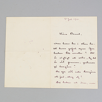 AUGUST STRINDBERG, brev, daterad 1910.