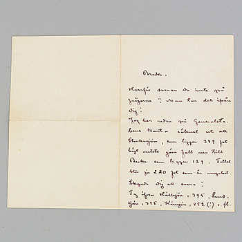 A letter by, August Strindberg dated 1910.