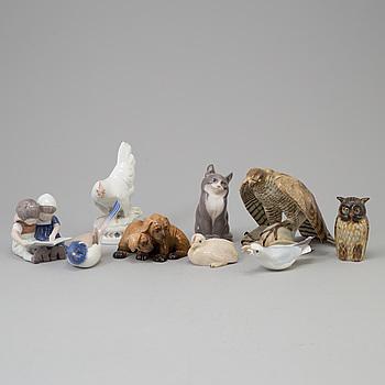 ROYAL COPENHAGEN, A lot of 9 figurines, including Royal Copenhagen, Rörstrand.