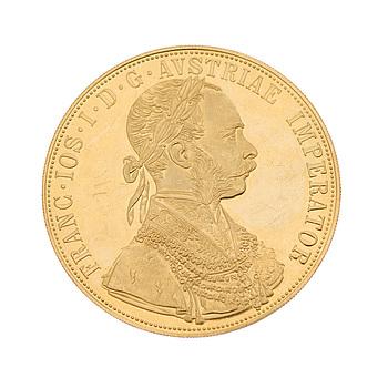 KULTARAHA, 4 dukaattia, noin 23 K, FRANZ JOSEPH I 1915, Itävalta-Unkari. Paino noin 14 g.