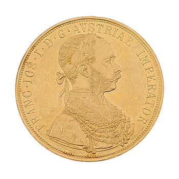GOLDCOIN, 4 ducat, ca 23 k, FRANZ JOSEPH I 1915, Austria-Hungary. Weight ca 14 g.