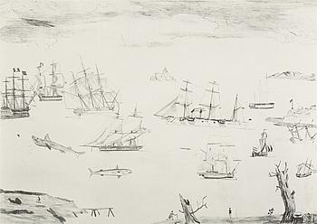 """JOCKUM NORDSTRÖM, """"Jag följer foten"""", litografi, signerad Jockum och numrerad 194/250."""
