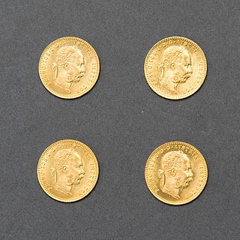 GULDMYNT 4 st, ca 23K, FRANZ JOSEPH I 1915, Österrike-Ungern 1915. Vikt ca 3,5 gram, totalt ca 14 g.