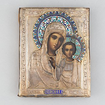 A Russian early 20th century silver gilt and enameled icon, Moscow 1908-1926.