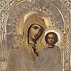 A russian icon, with parcel-gilt oklad, moscow, 1877.