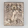 A russian icon, tempera on panel with parcel-gilt and silver oklad, assaye mark alexander jashinov, st petersburg, 1807.