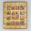 A russian icon, tempera and gold on panel, russia 19/20th century.