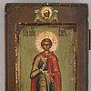 Ikon, tempera och guld på pannå, ryssland 1800-tal.
