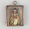 A russian travel icon, with oklad in silver and enamel, moscow, 1908-1917.