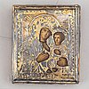 Two russian 19th century travle icon, oklad in silver and parce-gilt, one with assayer mark aa 1890.