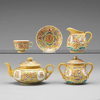 KAFFE/TESERVIS, 10 delar, porslin. Kina, Republik, tidigt 1900-tal, med Guangxus sex karaktärsmärke.
